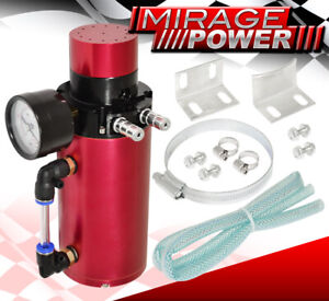 For Pontiac Track Race Performance Oil Catch Breather Vacuum Gauge Can Tank Red