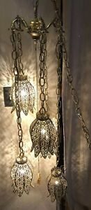 Antique Vintage Art Deco Hanging Chandelier Chain Brass W 5 Lights 41 Long