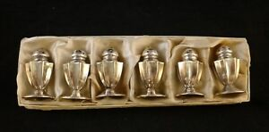 Six Vintage Sterling Silver Salts Peppers In Original Box Base Only 2 Tall