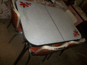 Vintage Formica Chrome Steel Table And Chair Set W Leaf