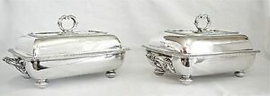 Fine Crested Pair Of Sterling Silver Georgian Covered Entree Dishes 6413g C 1807