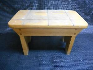 Old Vtg 1969 Wood Foot Stool Step Chair Bench Furniture Garden Signed Jim Mantz