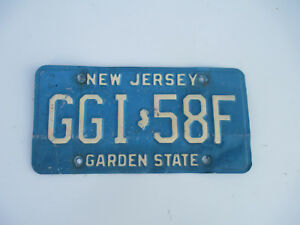 Vintage New Jersey License Plate Light Blue White
