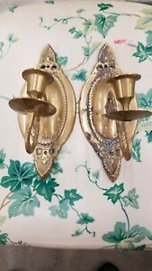 Antique Solid Brass Candle Sconces 8 X 3 1 2