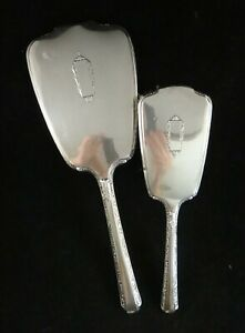 Antique Webster Art Deco Sterling Silver Hand Mirror And Brush Set Early 20th C