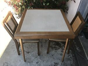 Vintage Mid Century Modern Eames Era Stakmore Folding Table 2 Cane Back Chairs