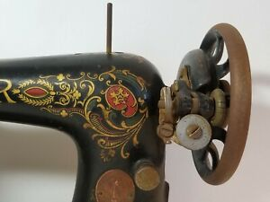Antique Singer Foot Treadle Sewing Machine Head Red Eye Gold Lettering Model 66