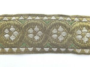 Vintage Metallic And Embroidered White And Green Trim Ribbon