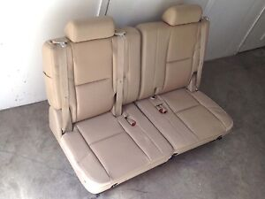 07 14 Yukon Denali Cadillac Escalade 3rd Third Row Seats Tan Beige Leather Tahoe