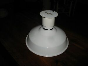 1 12 Antique White Porcelain Gas Station Light Shade Industrial Barn Twist