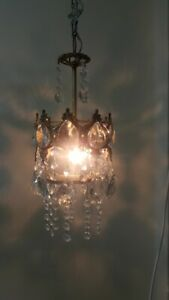Unique Antique Vintage French Brass Crystals Chandelier Ceiling Lamp 1960s
