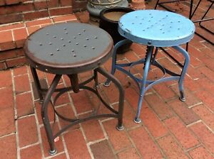 2 Vtg Toledo Metal Adjusting Stools 18 To 24 Need Adjusting Springs Very Good