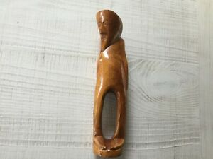 Hand Carved In Wood Bearded Man Statue Piece
