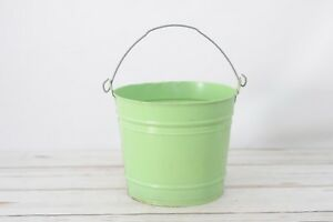 Vintage Painted Green Bucket Metal Tin Galvanized Pail