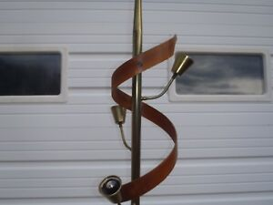 Rare Vintage Mid Century Pole Lamp Floor Lamp Antique Walnut Wood Swirl