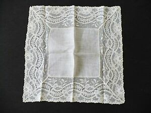 Beautiful Lace And Linen Wedding Hanky Ecru 11 Square Handkerchief Pristine