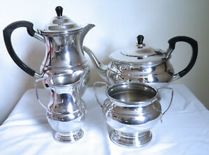 Silver Plated Tea And Coffee Service Or Tea Set Four Piece Vintage
