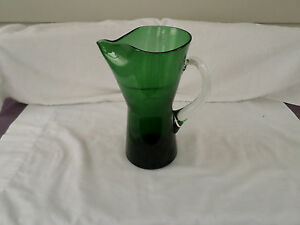 Forest Green Art Glass Cocktail Pitcher W Clear Handle Mcm Mid Century