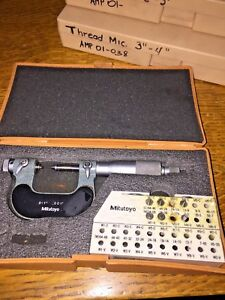 Mitutoyo Screw Thread Micrometer No 126 137 0 1 001 8 Anvils
