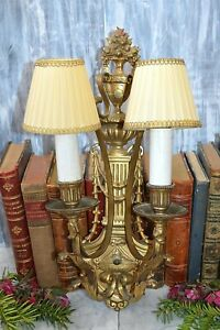 Antique Large Gilt Bronze Leviton Two Arm Light Wall Sconce Fixture French Style