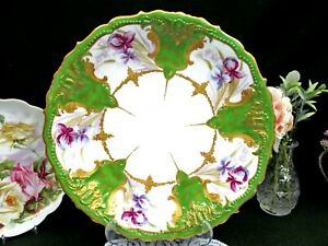 Limoges France Painted Charger Iris Floral Gold Gilt Raised Large Platter