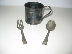 Antique 1881 Rogers Silver Plated Baby Cup Fork Spoon Set No Monograms