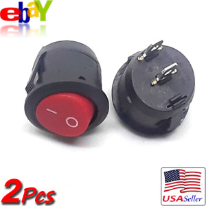 2x Red Round Rocker 125v 10a Interior Panel Boat Replacement On Off Switch New