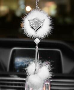 Car Auto Rearview Mirror Pendant Crystal Fox Lucky Hanging Ornament Decoration