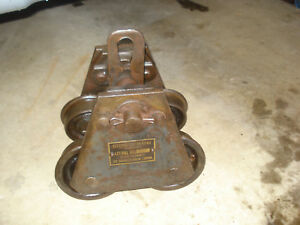 Vtg Wright 1 Ton I Beam Trolley For Hoist Bearings Just Serviced