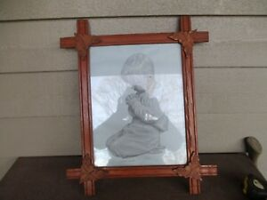 Antique Oak Crossed Wooden Frame Leaves In The Corners