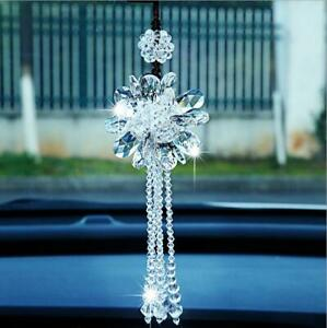 White Crystal Flower Car Rear View Mirror Pendant Hanging Ornament Accessories