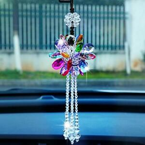 Colorful Crystal Flower Car Rear View Mirror Pendant Hanging Ornament Decoration
