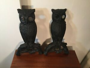 Original Antique Vintage Cast Iron Owl Andirons Fireplace Log Holders Firedogs