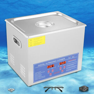 10 L Stainless Steel Industrial Ultrasonic Cleaner Heater Timer Heated Machine