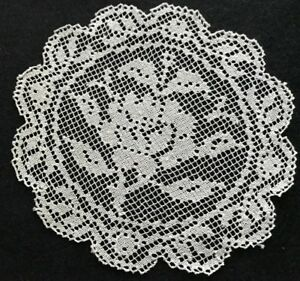 Four Adorable Italian Roses Darning On Knotted Net Goblet Doilies Placemats 5 1