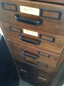 Vintage Wood 45 5 Tall 8 Drawer File Cabinet Very Good