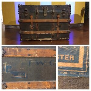 Antique Steamer Trunk Oak Slat 1800 S Flat Top Ww1 Era