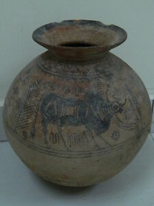 Ancient Huge Size Teracotta Painted Pot With Bulls Indus Valley 2500 Bc Pt15677