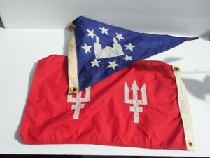 Vintage Double Trident Red Boat Flag Blue Flag With Stars