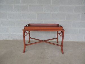 Hollywood Regency Bamboo Tray Top Coffee Cocktail Table 32 W X 19 D