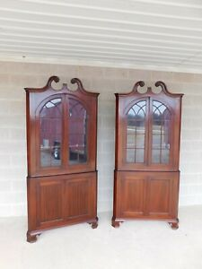 Antique Mahogany Chippendale Style Corner Cabinets A Pair