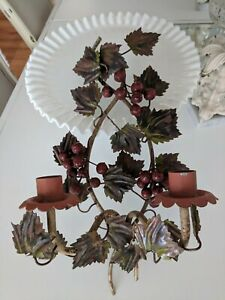 Vtg Italian Tole Candle Wall Sconce Berries Chic Holder Cottage