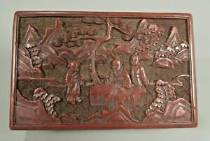 Fine China Chinese Carved Cinnabar Box W Figures In A Landscape Decor Ca 1900