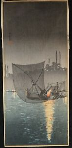 Shotei Takahashi Woodblock Night Fishing At Tsukuda C 1930 S 15 X 6