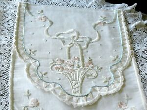 Antique English Regency Period Silk Work Embroidery On Jean Fabric Ladies Pouch