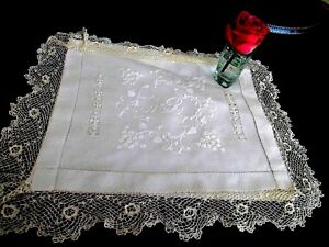 Antique Irish Linen Lace Pillow Cover
