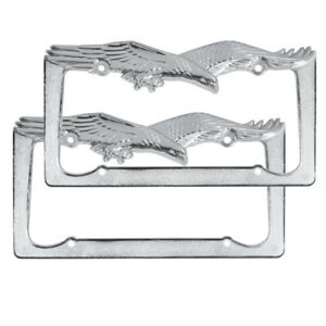 2 Pc Front And Rear License Plate Frame Set Car Truck Suv Chrome Eagle Design
