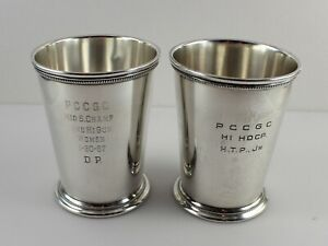 International P705 Sterling Silver Mint Julep Cups 4 1 8 Set Of 2 W Mono