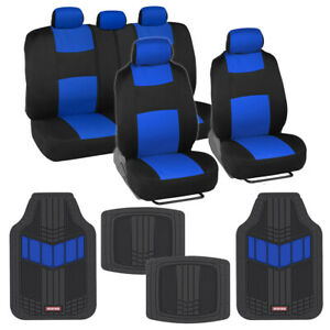 Blue black Seat Cover Set With Heavy Duty Rubber Floor Mats For Car Truck Suv