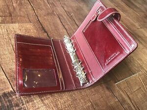 Red Franklin Covey Stitched Snap Compact Leather Planner Binder 6 Rings Euc